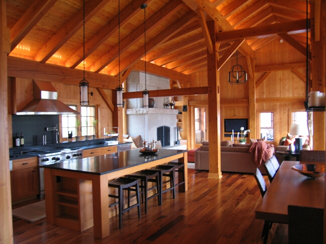 Timber framing bhudeva for Timber frame home interiors